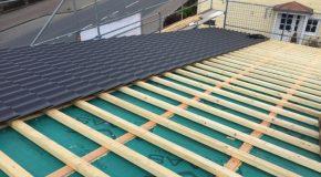 Dacheindeckung Braas 7Grad Dach als Pultdach mit Harzer Pfanne F
